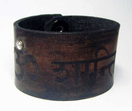 OM ॐ Shanti Leather Bracelet - Succulent Treasure
