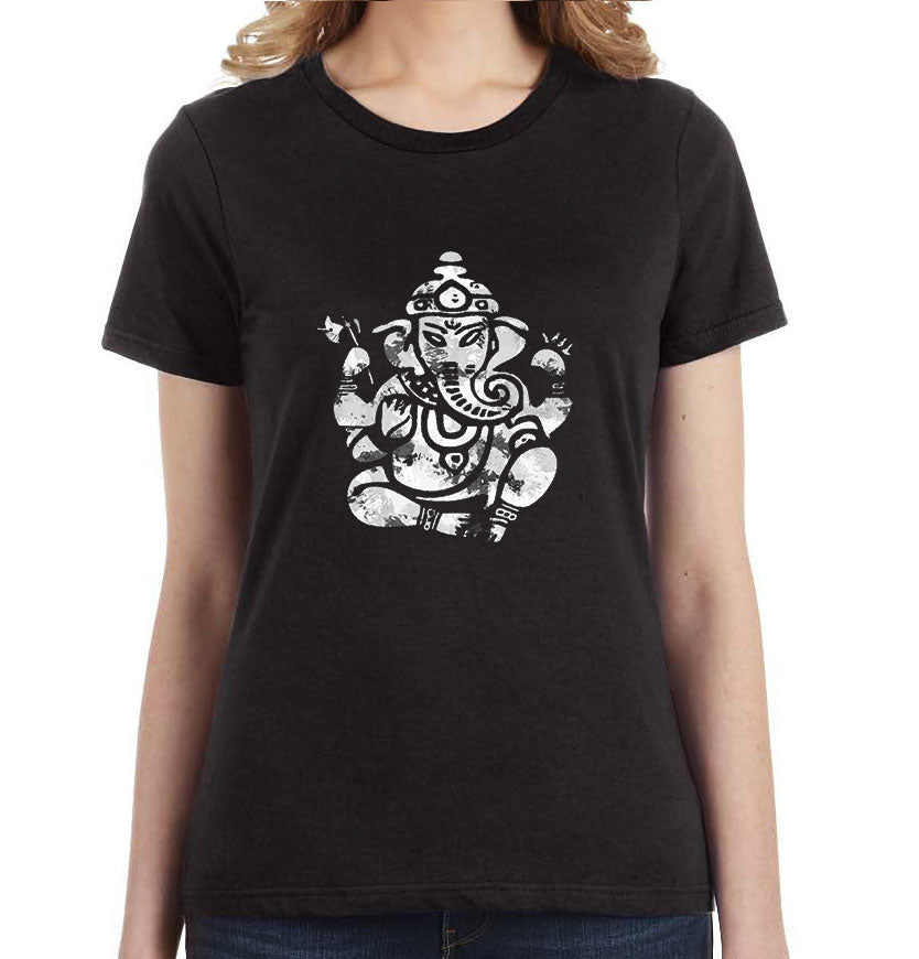 Om Ganesha Distressed Graphic Women's Tee - Succulent Treasure