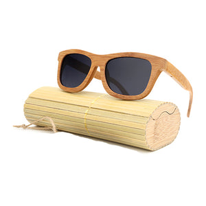 Wooden Light Brown Bamboo Sunglasses Polarized Wayfarer - Succulent Treasure