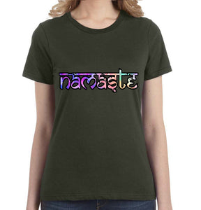 Namaste Watercolor Graphic Women's Tee - Succulent Treasure