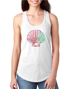 Seashell Watercolor Racerback Tank - Succulent Treasure