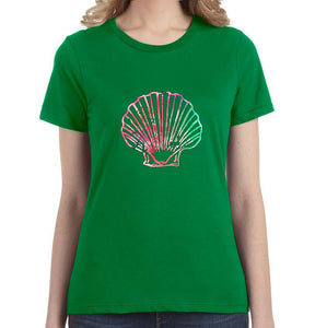 Watercolor Seashell Women's Tee - Succulent Treasure