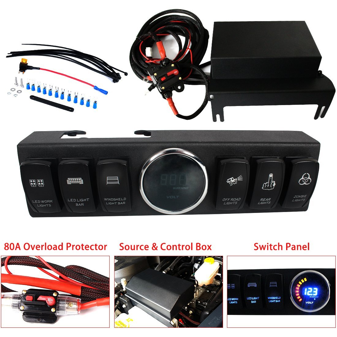 Firebug 6 Switch Panel Wiring Kit For 07 16 Jeep Wrangler Petrol Up Led Work Lights Version