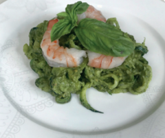Shrimp with Avocado Pesto Zoodles