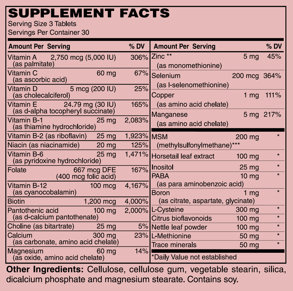 Supplement facts / Hair + Nails & Skin Formula | Stone Natural Medicine