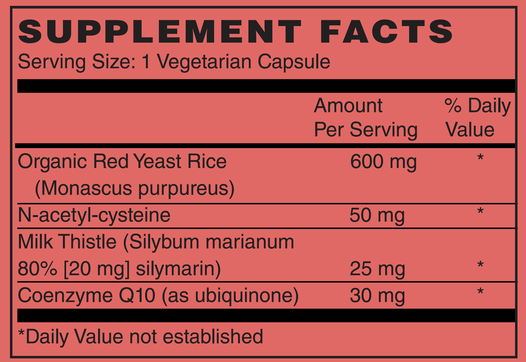 NOW Supplements, Red Yeast Rice with CoQ10 Supplement Facts | | Stone Natural Medicine