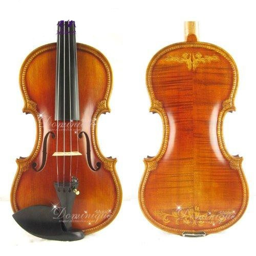D Z Strad Violin - Model 511 - Royal Violin with Handcrafted Scroll and Floral Carvings