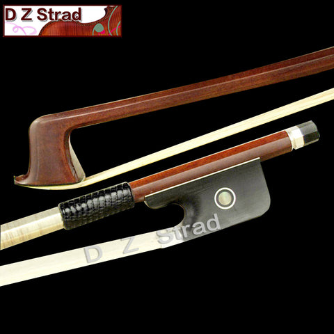 D Z Strad Double Bass Bow - Brazilwood Bow with Ebony Parisian Eye Frog (French Style)