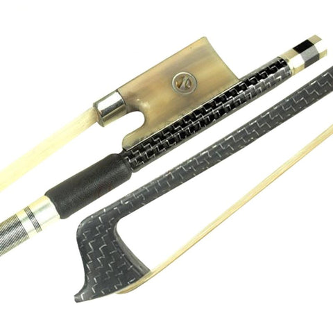 D Z Strad Violin Bow - Model M4 - Silver-braided Carbon Fiber Bow with Ox Horn Parisian Eye Frog