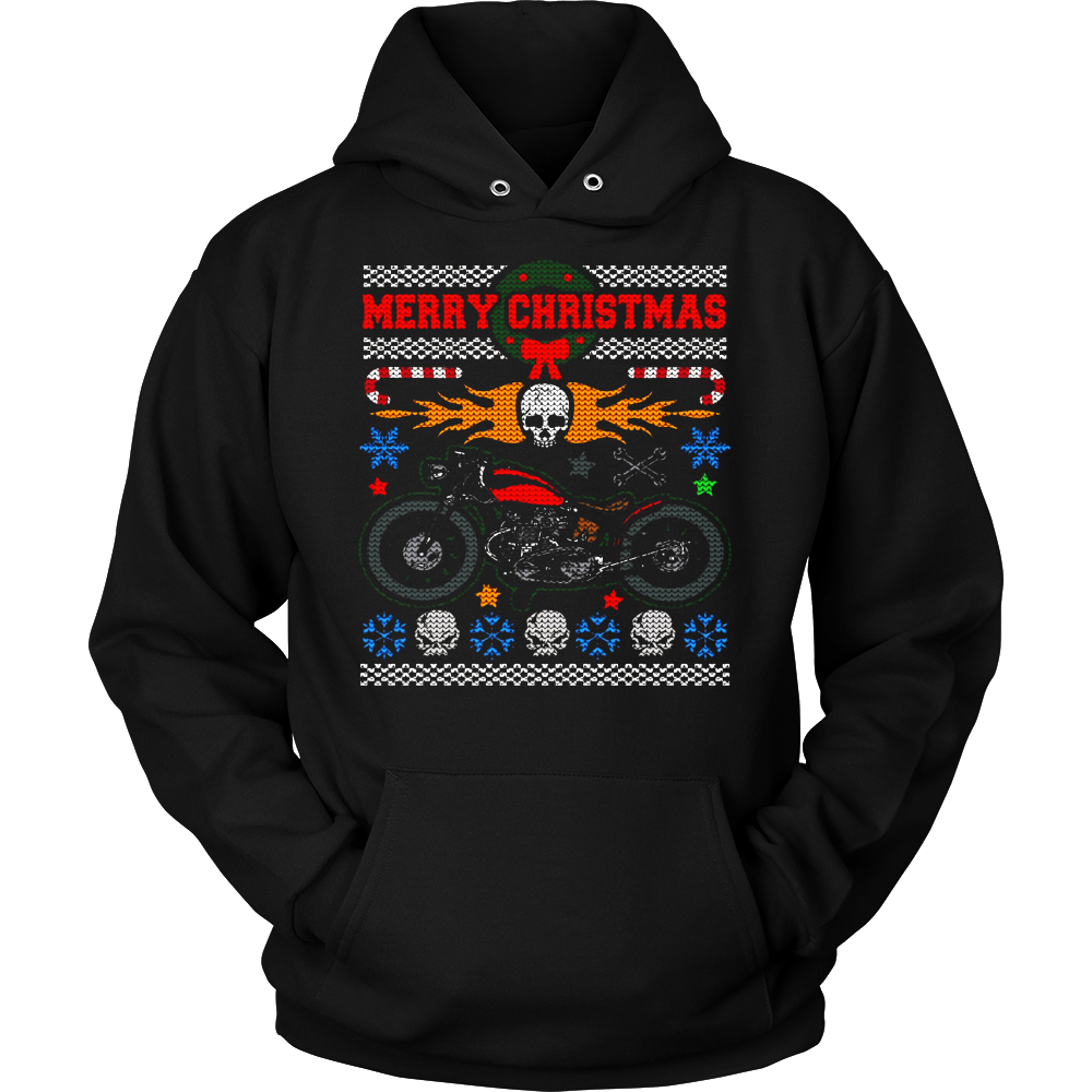 Ugly Christmas Sweater Vintage Motorcycle and Skulls T-shirt ...