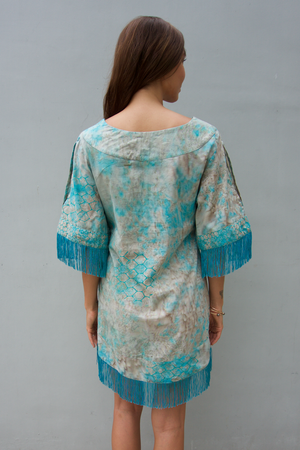 kov ridley green grey tassel fringe dress ocean conservation bali batik