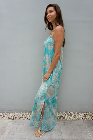 kov ridley green grey cotton maxi dress ocean conservation bali batik