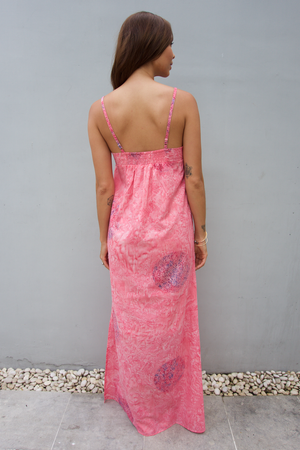 kov coral pink cotton maxi dress ocean conservation bali batik