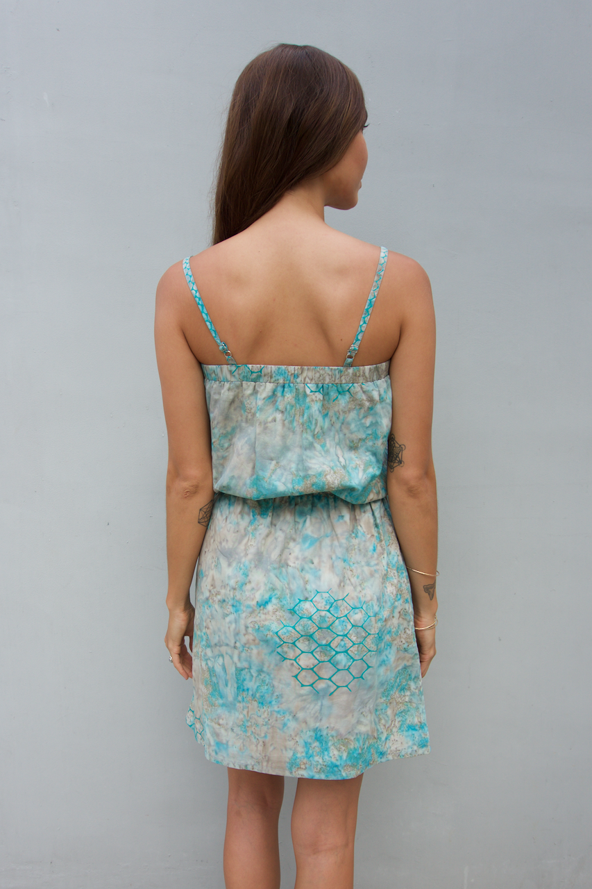 kov ridley green grey day dress with pockets ocean conservation bali batik