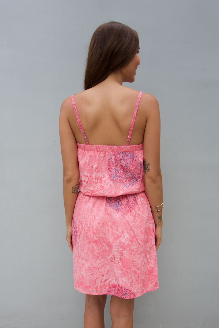 kov coral pink day dress with pockets ocean conservation bali batik