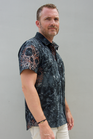 kov urchin black mens shirt short sleeve button up ocean conservation bali batik