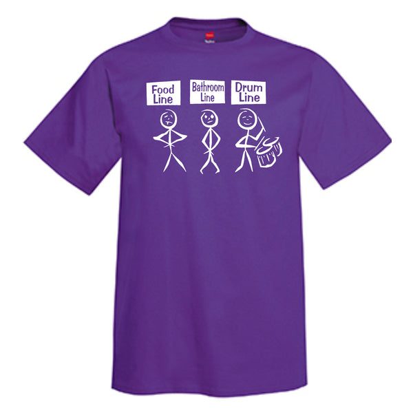 Food Line Bathroom Line Drum Line T-Shirt