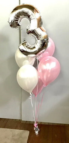 Silver Numbers Foil Balloon