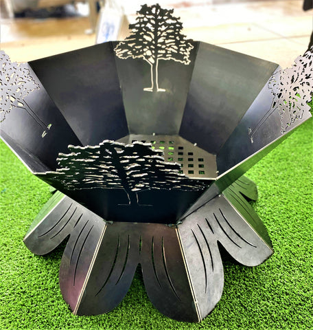 PINE Tree Silhouette Fire Pit