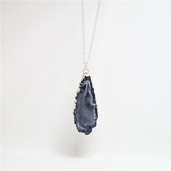 Long Silver Geode Necklace
