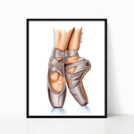 Beige Ballet Shoes Print