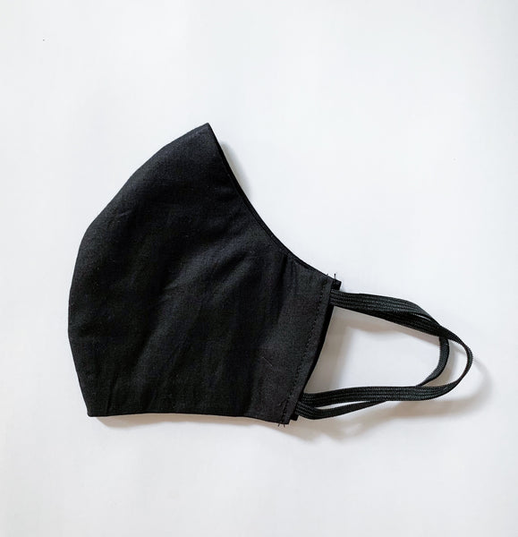 Cotton Face Mask with Pocket - Black