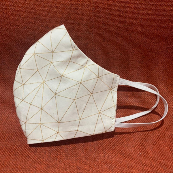Cotton Face Mask with Pocket - Gold Geometric