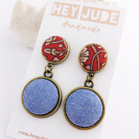 Antique Bronze Double Drops Red Rust Filigree + Light Blue