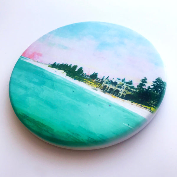 Cottesloe Beach, WA Hand Printed Ceramic Coaster