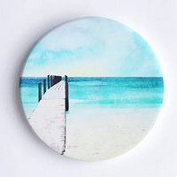 Quindalup Beach and Jetty, Hand Printed Ceramic Coaster