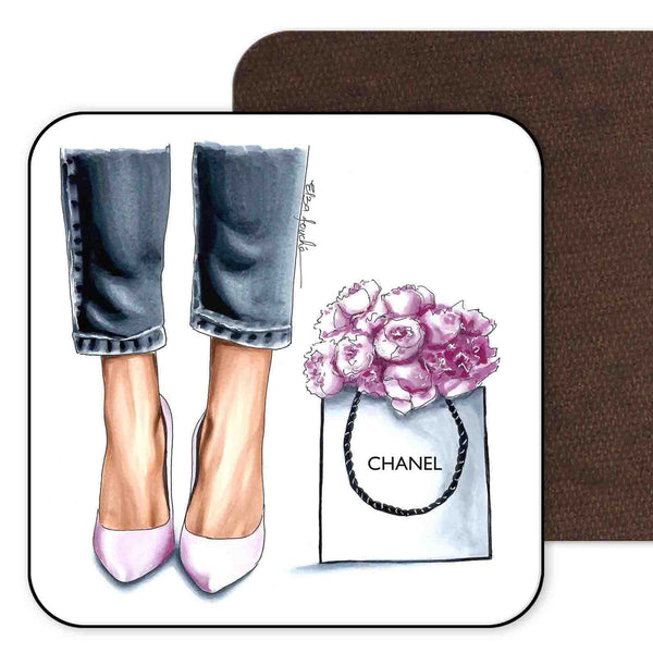 Heels and Peonies Coaster