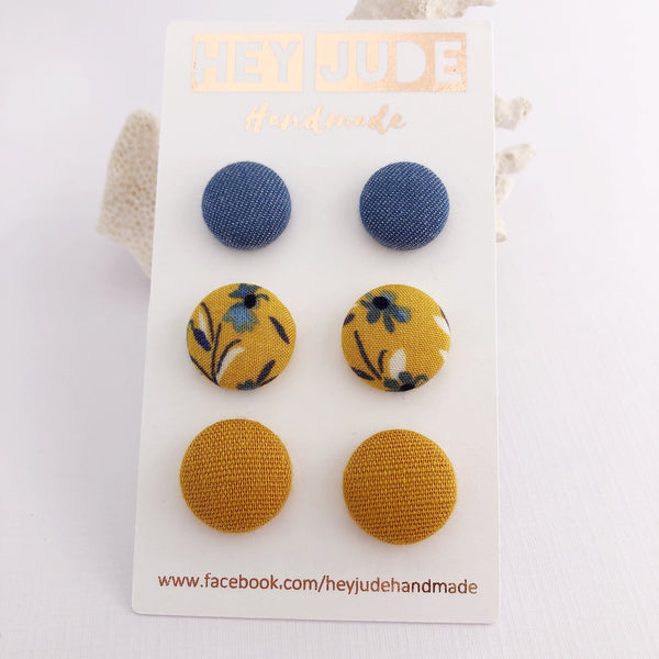 Fabric Stud Earring 3 Pack Light Denim/Mustard