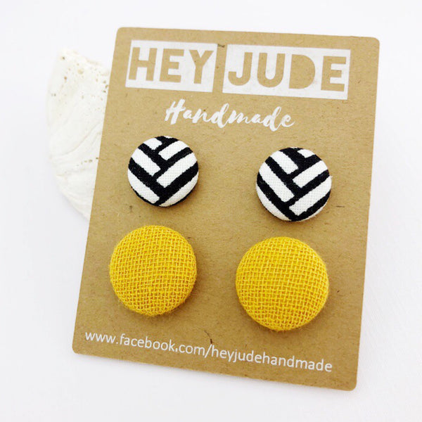 Fabric Stud Earring 2 Pack Mustard + White Geo