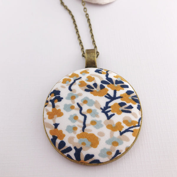 Large Long Pendant Necklace - Mustard Navy White Pattern