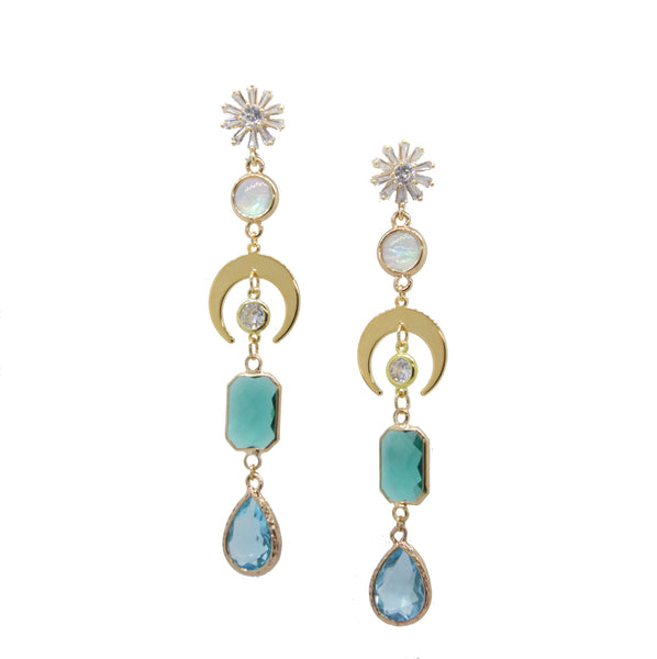 Statement Crystal Moon Earrings