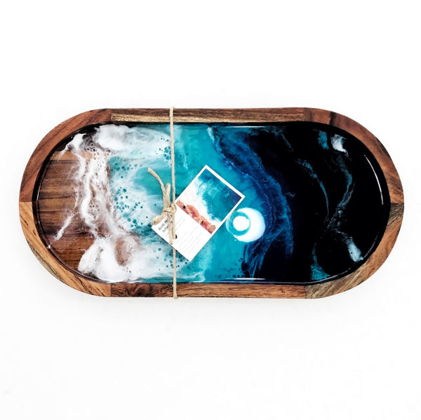 Acacia Oval Serving Tray With Resin Beach Scene
