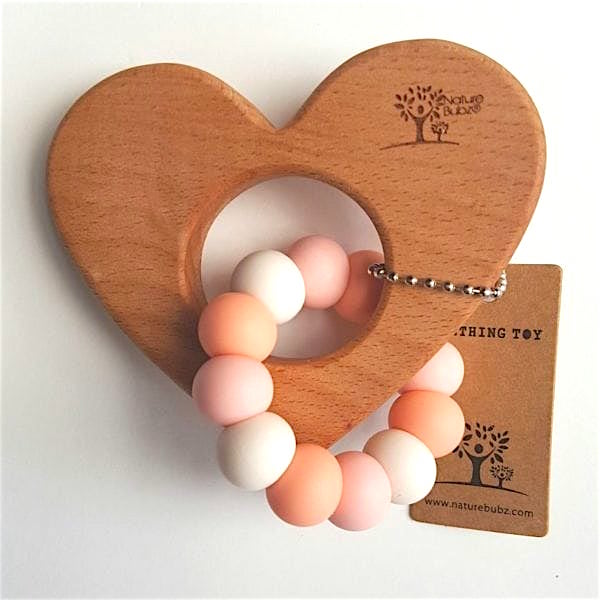 Heart Teether (Silicone & Wood)