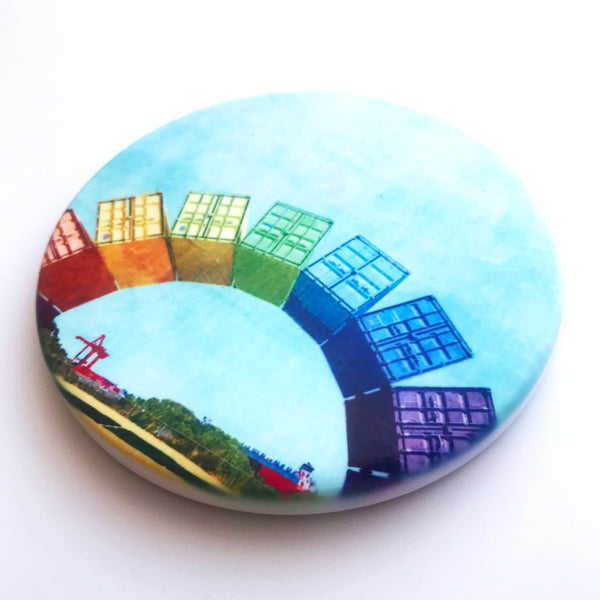 Fremantle Rainbow Containers, Hand Printed Ceramic Coaster
