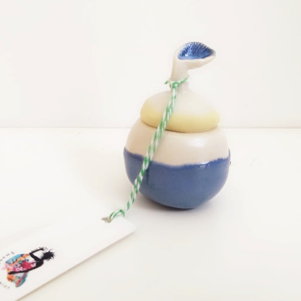 Natural Lip Balm In Ceramic - Blue Growing Seed