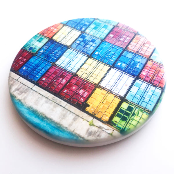 Fremantle Shipping Containers Hand Printed Ceramic Coaster