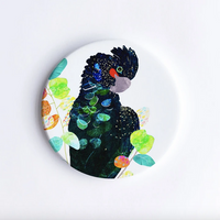 Red-Tailed Black Cockatoo, Hand Printed Ceramic Coaster