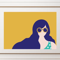 Sunglasses Girl - A4 Print