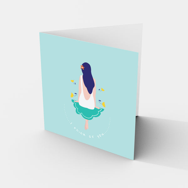 Girl On The Cloud - I Think Of You - Greeting Card