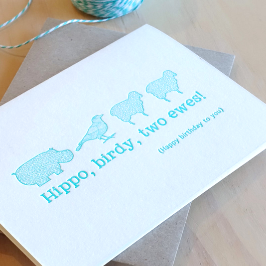 Hippo, Birdy, two ewes! Card