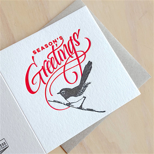 Willie Wagtail Season's Greetings Card