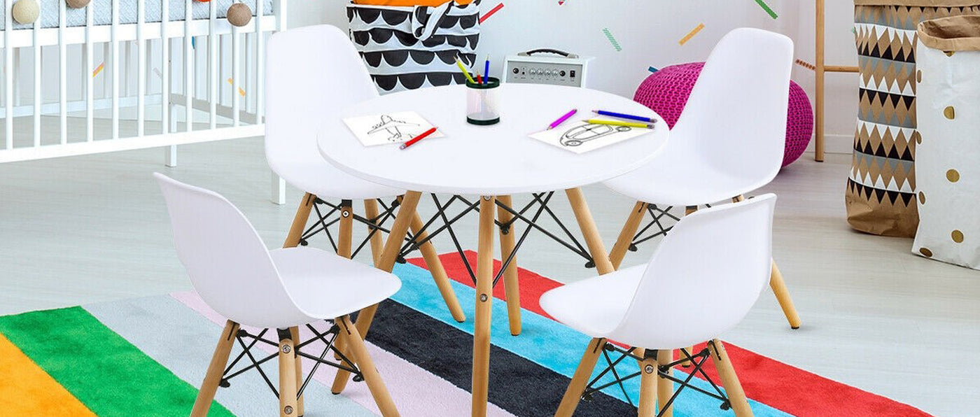 P'kolino Tables - Little Modern Table and Chairs set and Modern Round Kids Table and Chairs