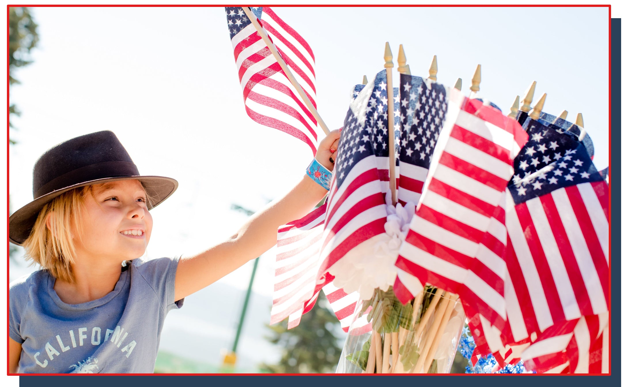 Child with USA flags