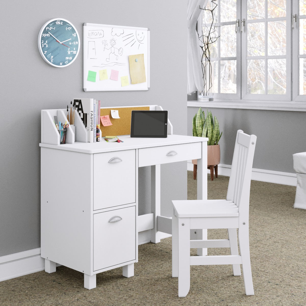 P'kolino Kids Desk and Chair in white. Deep, spacious drawers provide ample storage and make clean up a breeze. The playful, cork board is a convenient spot for reminders, to-do lists and more! A roomy desktop makes a functional workspace with cubbies!