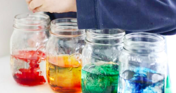 Jars filled with water and food dye.