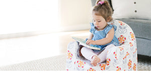 P'kolino Little Reader Toddler Chair - Comfy foam, supple fabric, arm rests and book pockets plusan easy to remove cover that is machine washable!